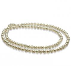 30 pouces Blanc 6-7mm AA-qualité perles d'eau douce -Collier de perles