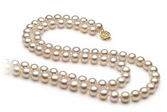 Blanc 7.5-8.5mm AA-qualité perles d'eau douce Rempli D'or-Collier de perles