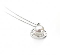 Kelly Blanc 9-10mm AA-qualité perles d'eau douce 925/1000 Argent-pendentif en perles