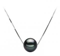 Kristine Noir 8-9mm AA-qualité de Tahiti 585/1000 Or Blanc-pendentif en perles