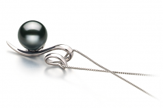 Dionne Noir 8-9mm AAA-qualité de Tahiti 585/1000 Or Blanc-pendentif en perles