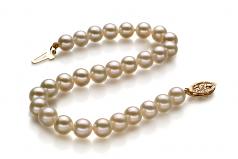 Blanc 5-5.5mm AAAA-qualité perles d'eau douce Rempli D'or-Bracelet de perles