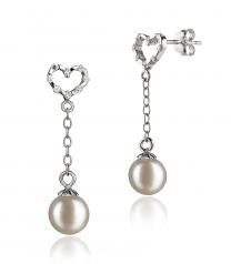 Hedda Blanc 6-7mm AAAA-qualité perles d'eau douce 925/1000 Argent-Boucles d'oreilles en perles