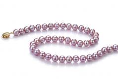 Lavande 7.5-8mm AAA-qualité perles d'eau douce Rempli D'or-Collier de perles