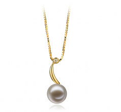 Sora Blanc 9-10mm AAAA-qualité perles d'eau douce 585/1000 Or Jaune-pendentif en perles