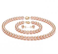 Rose 7-8mm AAA-qualité perles d'eau douce Rempli D'or-un set en perles