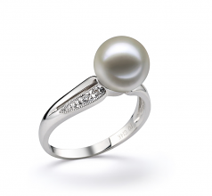 Caroline Blanc 9-10mm AAAA-qualité perles d'eau douce 585/1000 Or Blanc-Bague perles