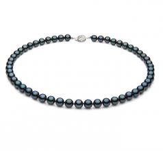 Noir 7-7.5mm AA-qualité Akoya du Japon 925/1000 Argent-Collier de perles