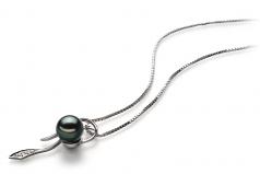 Jennifer Noir 7-8mm AA-qualité Akoya du Japon 925/1000 Argent-pendentif en perles