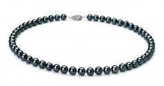 Noir 6.5-7mm AAA-qualité Akoya du Japon 925/1000 Argent-un set en perles
