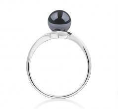 Daron Noir 6-7mm AAA-qualité Akoya du Japon 585/1000 Or Blanc-Bague perles