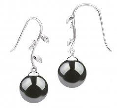 Honora Noir 9-10mm AAA-qualité de Tahiti 585/1000 Or Blanc-Boucles d'oreilles en perles
