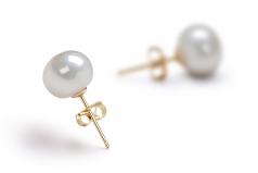 Blanc 7-8mm AAA-qualité perles d'eau douce-Boucles d'oreilles en perles