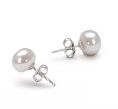 Blanc 7-8mm AA-qualité perles d'eau douce-Boucles d'oreilles en perles