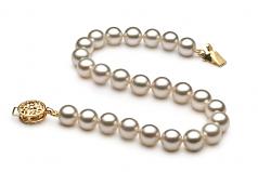 Blanc 6.5-7mm AAA-qualité Akoya du Japon -Bracelet de perles