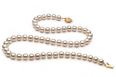 Blanc 6-7mm AAAA-qualité perles d'eau douce -Collier de perles