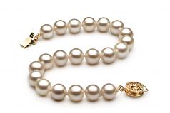 Blanc 7-8mm AAAA-qualité perles d'eau douce Rempli D'or-Bracelet de perles