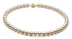 Blanc 7-8mm AAAA-qualité perles d'eau douce Rempli D'or-un set en perles