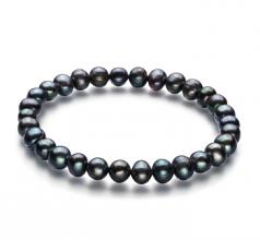 Bliss Noir 6-7mm A-qualité perles d'eau douce -Bracelet de perles