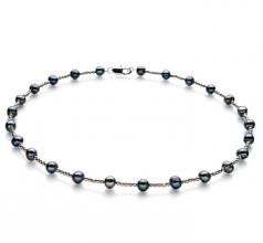 Atina Noir 6-7mm A-qualité perles d'eau douce -Collier de perles