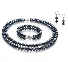 Julika Noir 6-7mm A-qualité perles d'eau douce 925/1000 Argent-un set en perles