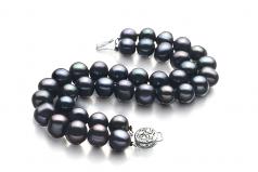 Noir 8-9mm A-qualité perles d'eau douce Argent-Bracelet de perles
