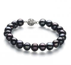 Kaitlyn Noir 8-9mm A-qualité perles d'eau douce 925/1000 Argent-Bracelet de perles