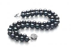 Henrike Noir 6-7mm AA-qualité perles d'eau douce 925/1000 Argent-Bracelet de perles