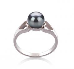 Jessica Noir 6-7mm AA-qualité perles d'eau douce 925/1000 Argent-Bague perles