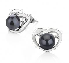 Katie Coeur Noir 7-10mm AA-qualité perles d'eau douce 925/1000 Argent-un set en perles