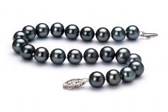 Noir 7.5-8.5mm AA-qualité perles d'eau douce 925/1000 Argent-Bracelet de perles