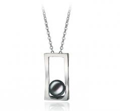 Athena Noir 7-8mm AA-qualité perles d'eau douce Blanc Bronze-pendentif en perles