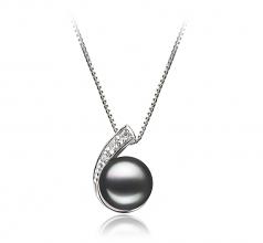 Claudia Noir 7-8mm AA-qualité perles d'eau douce 925/1000 Argent-un set en perles