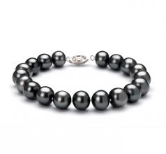 Noir 8.5-9mm AA-qualité perles d'eau douce 925/1000 Argent-Bracelet de perles