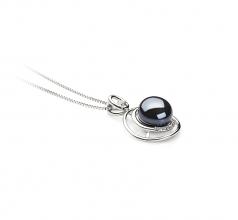 Kelly Noir 9-10mm AA-qualité perles d'eau douce 925/1000 Argent-pendentif en perles