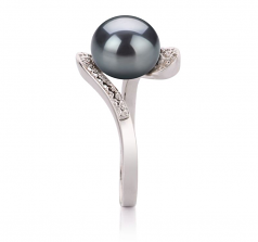Chantel Noir 9-10mm AA-qualité perles d'eau douce 925/1000 Argent-Bague perles
