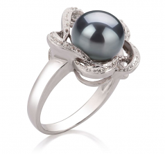 Fiona Noir 9-10mm AA-qualité perles d'eau douce 925/1000 Argent-Bague perles