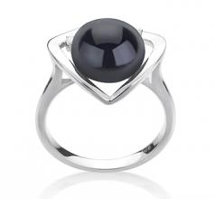 Katie Coeur Noir 9-10mm AA-qualité perles d'eau douce 925/1000 Argent-Bague perles