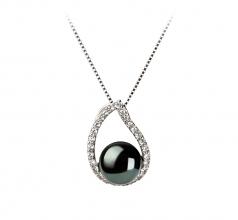 Isabella Noir 9-10mm AA-qualité perles d'eau douce 925/1000 Argent-un set en perles