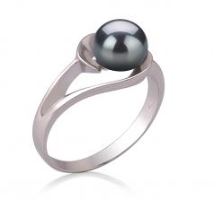Clare Noir 6-7mm AAA-qualité perles d'eau douce 925/1000 Argent-Bague perles