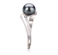 Dana Noir 6-7mm AAA-qualité perles d'eau douce 925/1000 Argent-Bague perles