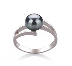 Jenna Noir 7-8mm AAA-qualité perles d'eau douce 925/1000 Argent-Bague perles