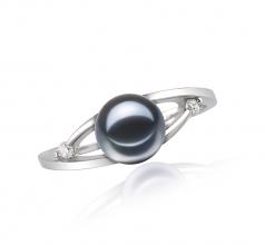 Tanya Noir 6-7mm AAAA-qualité perles d'eau douce 585/1000 Or Blanc-Bague perles