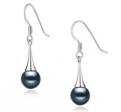 Sandra Noir 7-8mm AAAA-qualité perles d'eau douce 925/1000 Argent-Boucles d'oreilles en perles