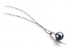 Destina Noir 7-8mm AAAA-qualité perles d'eau douce 925/1000 Argent-pendentif en perles