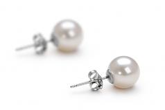 Blanc 7-8mm AAAA-qualité perles d'eau douce 925/1000 Argent-Boucles d'oreilles en perles