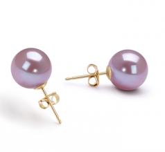 Lavande 9-10mm AAAA-qualité perles d'eau douce-Boucles d'oreilles en perles