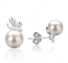 Marsha Blanc 7-8mm AA-qualité Akoya du Japon 925/1000 Argent-Boucles d'oreilles en perles