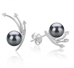 Rosie Noir 6-7mm AA-qualité Akoya du Japon 925/1000 Argent-Boucles d'oreilles en perles