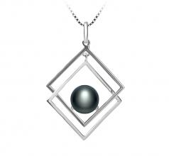 Lilian Noir 8-9mm AAA-qualité perles d'eau douce 925/1000 Argent-un set en perles
